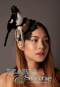 The Magpie's Treasure – Magpie Black Birds Nest Gothic Fascinator, Pearls, Steampunk, Rockabilly, Burlesque, Hair Accessory, Headwear, Headpiece, Head Piece, Pearls and Swine, Pearls & Swine, Cheeky, Charming, Milliner, Millinery, West Yorkshire, United Kingdom, UK, England, British, Royal Ascot, Ladies Day, Occasion Wear, Rock n Roll Bride, Stunning, Grand National, Fashion Statement, Nest, Bird, Fascinator Designer, Accessories Designer, Hand Crafted