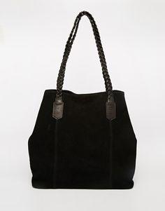 Image 1 ofASOS Suede Shopper Bag With Plaited Strap