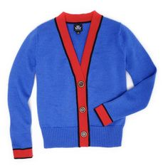 Slater Zorn Letterman Cardigan ($395) ❤ liked on Polyvore featuring tops, cardigans, v-neck tops, merino wool cardigan, blue top, blue cardigan and merino cardigan