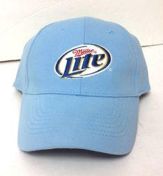 5796293cd801a MILLER LITE BEER HAT Light-Blue Curved-Bill Women Men OSFM Velcro-