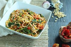 Sundried Tomato Pesto Zucchini Noodles with Corn, Beans and Spinach
