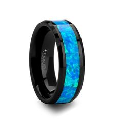 Tungsten Wedding Bands For Men And Women | weddingbandsforboth.com - QUANTUM Black Ceramic Ring with Blue Green Opal Inlay - 8 mm, $199.95 (http://weddingbandsforboth.com/quantum-black-ceramic-ring-with-blue-green-opal-inlay-8-mm/)