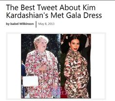 Robin Williams' tweets about Kim K's Met Dress from Monday night (May 6th)