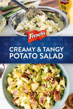 A twist on classic potato salad this Creamy and Tangy Potato Salad is loaded with flavor. Red potatoes hard-cooked eggs and French's Yellow Mustard make for an easy side dish thats ready in 20 minutes. Classic Potato Salad, Creamy Potato Salad, Potato Salad With Egg, Salad Recipes Video, Diet Recipes, Cooking Recipes, Healthy Recipes, Recipies, Potato Dishes