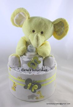 Elephant diaper cake   Neutral diaper cake  Baby shower decoration   Baby diaper cake   Baby shower gift   Unique Baby gift   New mom gift by MsCarlasBabyCakes on Etsy