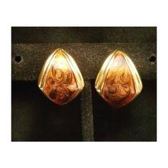 Vintage Monet Earrings, Monet Hoop Earrings, Black Enamal swirled... (£6.05) ❤ liked on Polyvore featuring jewelry, earrings, hoop earrings, clip on earrings, vintage clip earrings, vintage hoop earrings and vintage jewellery