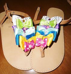 handmade sandals with colourful bows,strass and pearls!!  #sandals #summer #summersandals #bows #colourful #pinup #χειροποιητα #σανδαλια #φιογκοι Palm Beach Sandals, Bows, Summer, Handmade, Arches, Summer Time, Hand Made, Bowties, Bow