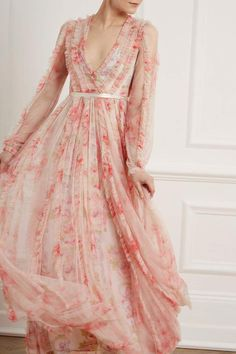 New Season Ruby Bloom Garland V-Neck Gown - Exclusive in Butterfly Blush. Shop the new collection. Sequin Midi Dress, Sequin Gown, Embellished Dress, Embroidered Lace, Floral Gown, Floral Maxi, Maxi Gowns, Mothers Dresses, Beautiful Gowns
