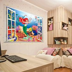 The Little Mermaid Wall Stickers for Kids Rooms Home Window Decoration Decal Art *** Click image to review more details. (Note:Amazon affiliate link)