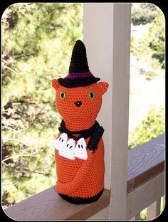 Crochet Halloween Witch Cat door stopart by AdoreStops on Etsy, $45.00