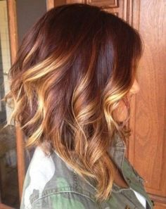 Long Curly Bob with Red Ombre More