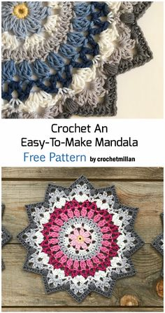 Crochet Mandala - Free Pattern coaster is first worked as a knitting pattern, and then the wooden ring is attached with . Crochet Mandala Pattern, Crochet Circles, Crochet Stitches Patterns, Crochet Diy, Crochet Gifts, Doilies Crochet, Crochet Mandela, Point Granny Au Crochet, Confection Au Crochet