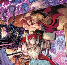 Old Thor Young Thor Thors War of The Realms Marvel Comic Book Covers, Comic Book Heroes, Comic Books, Marvel Dc, Marvel Comics, Old King, The Mighty Thor, Fantasy Images, Stan Lee