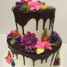 Beautiful bright flowers and dripped chocolate