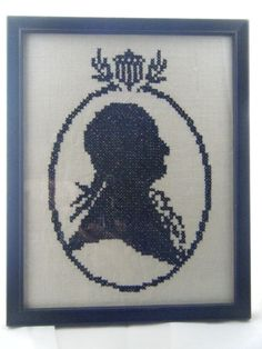Vintage Patriotic Framed Cross Stitch Silhouette of George Washington in Profile