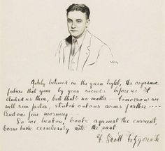 all star pics: The last paragraph of The Great Gatsby in Fitzgerald's own handwriting. The last line is found on Scott and Zelda's tombstone.