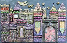 Polymer clay enhanced with powder and paint and lovely jewels! Etsy listing at https://www.etsy.com/uk/listing/287231937/camelot-castle-mixed-media-mosaic