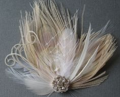 Ivory Peacock Feather Hair Clip WEDDING Bridal by WeeGardens, $35.00