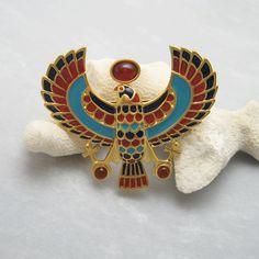 Egyptian Phoenix Brooch Vintage Enamel by PurpleDaisyJewelry Vintage Brooches, Vintage Jewelry, King Tut Tomb, Purple Daisy, Thanks A Bunch, Franklin Mint, Egyptian Jewelry, Enamel Jewelry, Cuff Bracelets