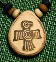 Hopi Thunderbird  Handmade Native American Petroglyph  Pendant Necklace + Beads #secretcanyon