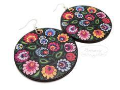 Decoupage folk earrings Wooden Jewelry, Decoupage, Crochet Earrings, Folk, Coin Purse, Hand Painted, Purses, Wallet, Handbags