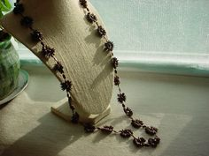 Vintage Brown Koa Seed Necklace Hawaiian Bohemian 32 inch loop Flower patttern #Unbranded #Collar Seller florasgarden on ebay