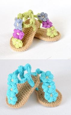 Puff Flower Baby Sandals Crochet Pattern