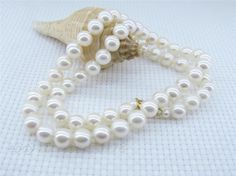 FREE shipping>>> >>>White 7-7.5mm AAA+ Round Akoya Pearl Necklace 18""