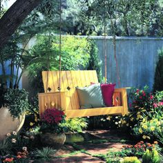 DIY Garden Swings • Lots of Ideas & Tutorials! Including this DIY garden swing from sunset mag.