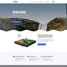 Premium Multipage Template for a Water delivery website that will work on any type of devices. Website Template, Web Design, Water Delivery, Healthy Water, Water Dispenser, How To Increase Energy, Cool Designs, Templates, Vector Icons