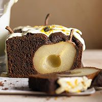 :Chocolate-Cinnamon Pear Loaf Cake Recipe - try using applesauce, nut milk, and flax egg?