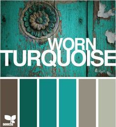 Turquoise/Green color inspiration for family room makeover Colour Pallete, Colour Schemes, Colour Combinations, Steampunk Bathroom, Pintura Exterior, Southwest Decor, Paint Effects, Design Seeds, Shabby Chic Furniture