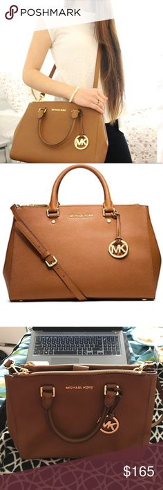 MK Large Sutton Satchel Beautiful brown luggage color Sutton handbag satchel by Michael kors. Perfect for any fall wardrobe. No stairs or scrapes. Looks basically brand new. Saffiano leather. Open to negotiations. MICHAEL Michael Kors Bags Satchels