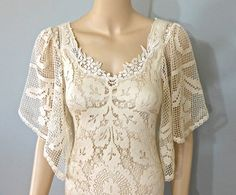 Boho WEDDING Dress Vintage Style Crochet LACE by MuseClothing