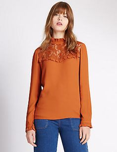 Get ahead of the upcoming season with our selection of new in women's clothing. Shop on-trend items, layering pieces and stylish accessories at M&S New Fashion, Womens Fashion, Collars, Clothes For Women, Stylish, Blouse, Lace, Stuff To Buy, Shopping