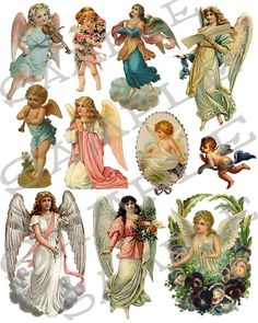 Angels Collage Sheet .... Mom had many of these...angels, cherubs, victorian children......!!!!