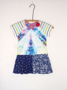 Upcycled OOAK Girl Size 3 T Shirt DressTIe Dye by TwoSweetMamas, $30.00