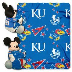 Kansas Jayhawks NCAA Mickey Mouse with Throw Combo
