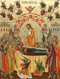 Dormition of the Theotokos Religious Pictures, Religious Icons, Religious Art, Catholic Art, Catholic Saints, Roman Church, Christian Religions, Byzantine Icons, Orthodox Icons