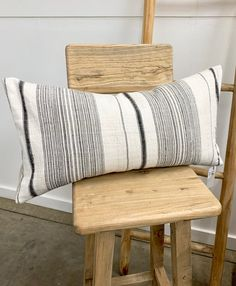 Rustic Farmhouse Pillow with black and white stripe hemp. | Etsy