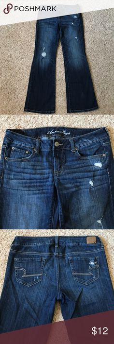 """American Eagle Favorite Boyfriend distressed jeans """"Favorite Boyfriend"""" distressed jeans from American Eagle. Size 10, please see measurements below. 90% cotton, 2% spandex. Gently worn, small worn spot toward the bottom of one pant leg (see last picture) but blends in fine with the intentional distressing. No wear or fraying to the bottom hem. Measurements taken across front with garment laying flat. Waist: 16.5""""; rise: 7.5; inseam: 31"""". American Eagle Outfitters Jeans Boyfriend"""