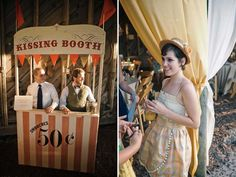 kissing booth at carnival themed wedding