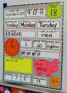 a new way to organize calendar with laminated strips . . . I typed mine instead of sentence strips, and the kiddos use whiteboards to follow along with the calendar helper