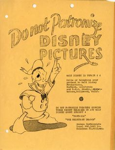 """Folhetos também continha imagens irritadas de Donald Duck denunciando os filmes """"Fantasia"""" e """"The Reluctant Dragon""""."""