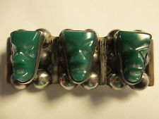 VINTAGE MEXICO AZTEC GREEN ONYX MASK STERLING SILVER BROOCH BAR PIN IGUALA