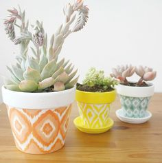 Glam up your space with ikat-patterned pots.