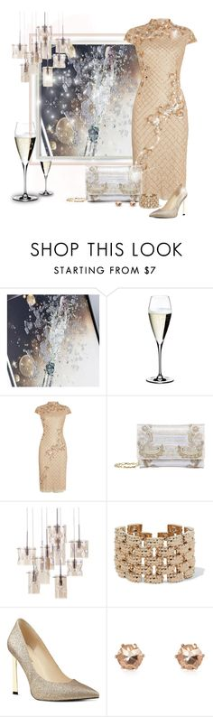 """Champagne Clutch"" by stileclassico ❤ liked on Polyvore featuring Trilogy, Riedel, Adrianna Papell, Oscar de la Renta, Valentino, Nine West, River Island, Clutch, holiday and champagne"
