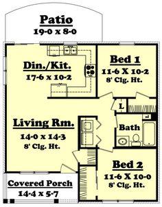 House Plan 041-00023 - Floor plan - Small Plan - 2bd/1bath main living floor.