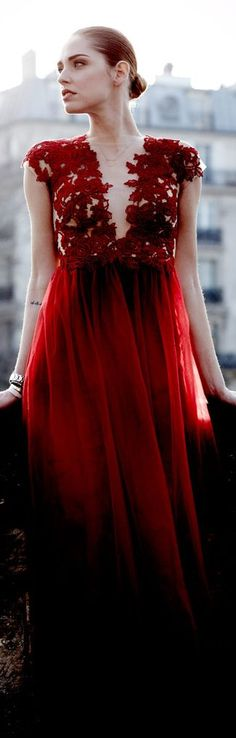 Patricia Bonaldi ~ Romantic Deep Red Gown w Embroidered Bodice 2013 Via Red Paris
