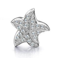 Sterling Silver Crystal Starfish Charm Bead Fits Pandora Bracelets